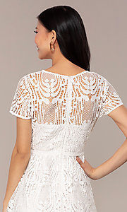 Image of short white lace graduation dress with sleeves. Style: MT-9655 Detail Image 2