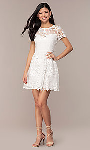 Image of short white lace graduation dress with sleeves. Style: MT-9655 Detail Image 3
