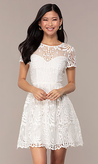 Short White Lace Graduation Dress with Sleeves