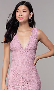 Image of short formal lace party dresses in mauve pink.  Style: MT-9641-2 Detail Image 1