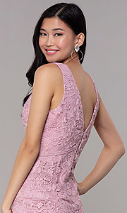 Image of short formal lace party dresses in mauve pink.  Style: MT-9641-2 Detail Image 2
