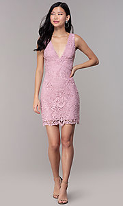 Image of short formal lace party dresses in mauve pink.  Style: MT-9641-2 Detail Image 3