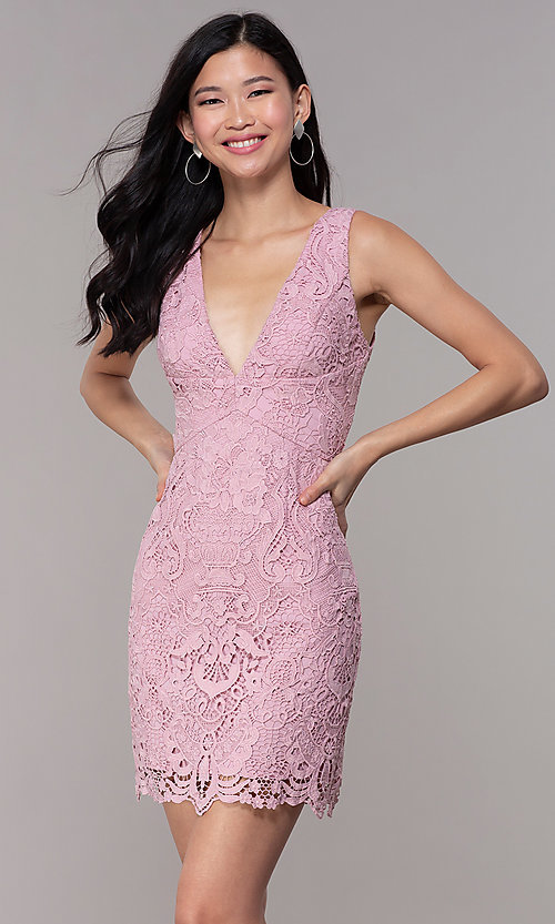 Image of short formal lace party dresses in mauve pink.  Style: MT-9641-2 Front Image