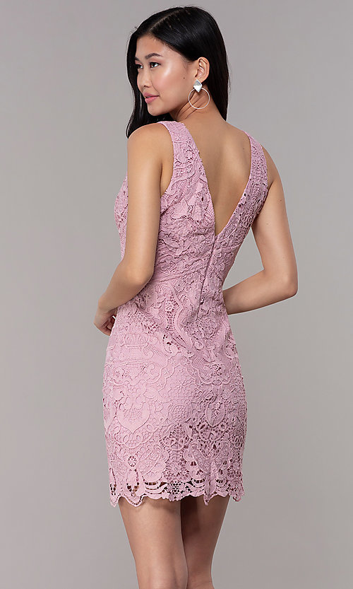 Image of short formal lace party dresses in mauve pink.  Style: MT-9641-2 Back Image