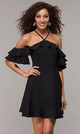 Off Shoulder LBD with Flounce Neckline