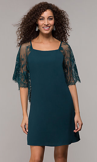 Short Shift Party Dress with Elbow Length Lace Sleeves