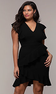 Image of short v-neck plus-size wedding-guest party dress. Style: SY-IXD5412VP Front Image