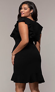 Image of short v-neck plus-size wedding-guest party dress. Style: SY-IXD5412VP Back Image