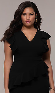 Image of short v-neck plus-size wedding-guest party dress. Style: SY-IXD5412VP Detail Image 1