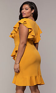 Image of short v-neck plus-size wedding-guest party dress. Style: SY-IXD5412VP Detail Image 5