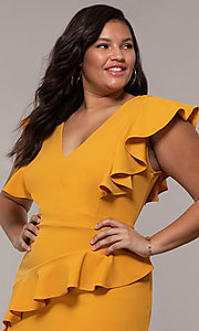 Image of short v-neck plus-size wedding-guest party dress. Style: SY-IXD5412VP Detail Image 6