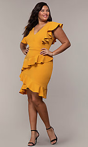 Image of short v-neck plus-size wedding-guest party dress. Style: SY-IXD5412VP Detail Image 8