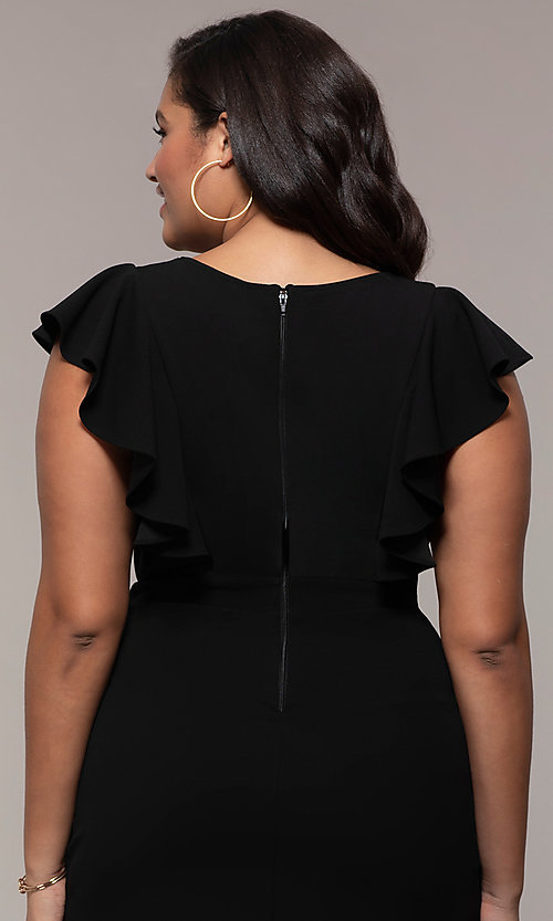 Image of short v-neck plus-size wedding-guest party dress. Style: SY-IXD5412VP Detail Image 2