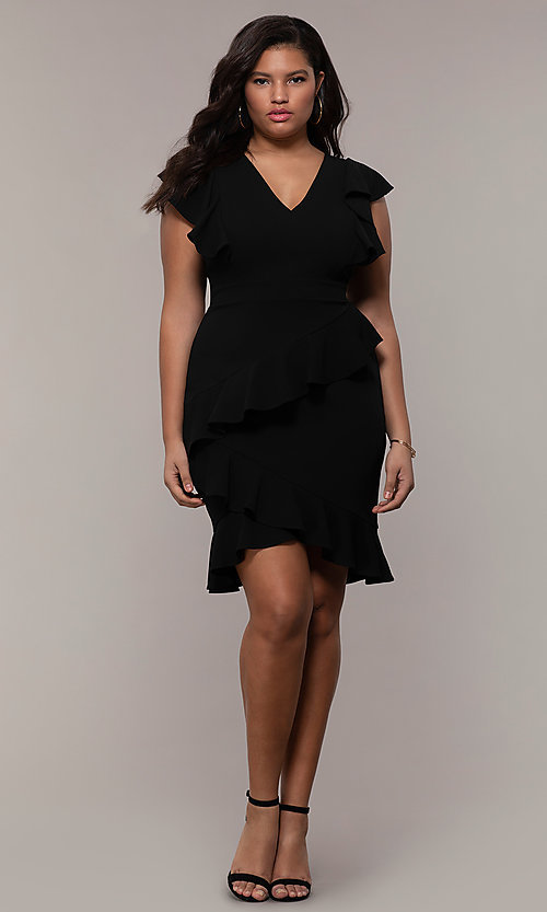Image of short v-neck plus-size wedding-guest party dress. Style: SY-IXD5412VP Detail Image 3