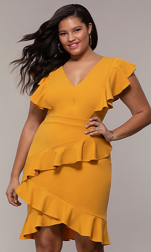 Image of short v-neck plus-size wedding-guest party dress. Style: SY-IXD5412VP Detail Image 4
