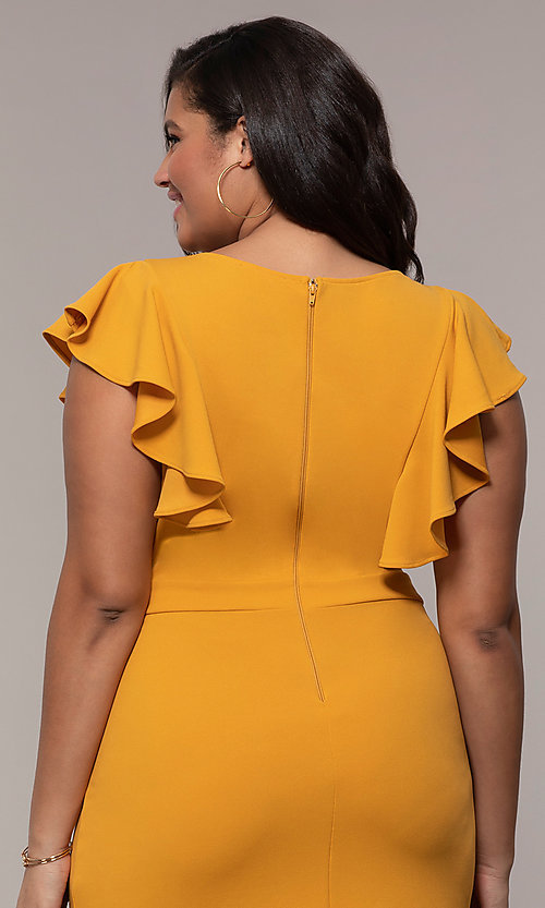 Image of short v-neck plus-size wedding-guest party dress. Style: SY-IXD5412VP Detail Image 7