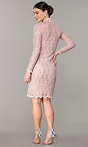 Image of pastel long-sleeve lace wedding-guest dress. Style: JU-MA-261800a Detail Image 3