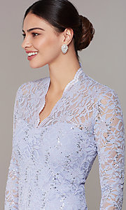 Image of pastel long-sleeve lace wedding-guest dress. Style: JU-MA-261800a Detail Image 1