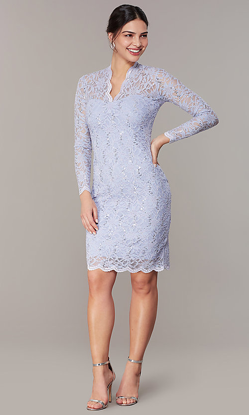 Image of pastel long-sleeve lace wedding-guest dress. Style: JU-MA-261800a Front Image