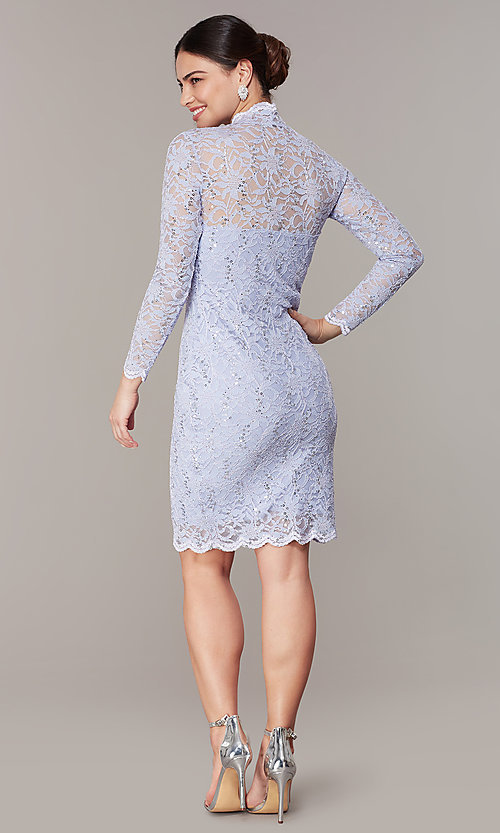 Image of pastel long-sleeve lace wedding-guest dress. Style: JU-MA-261800a Back Image