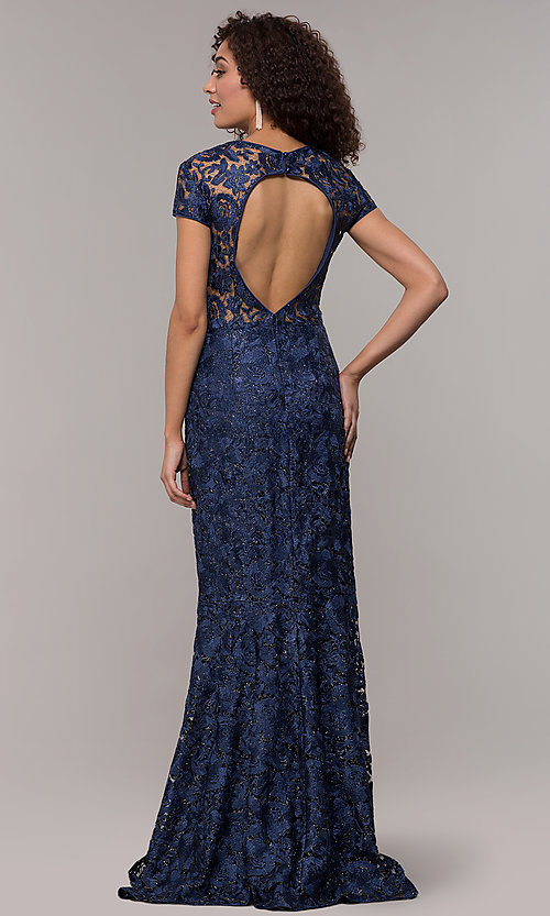 Image of long glitter-lace mother-of-the-bride dress. Style: JU-MA-261032 Back Image