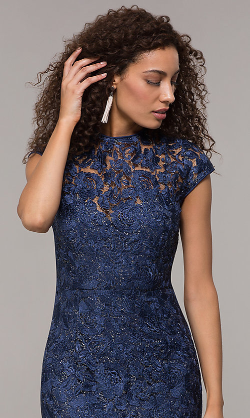 Image of long glitter-lace mother-of-the-bride dress. Style: JU-MA-261032 Detail Image 1
