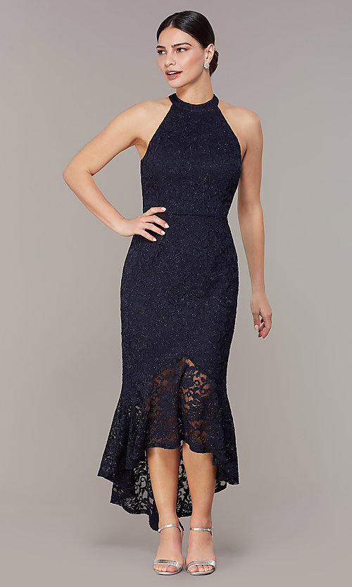 Navy Blue High Low Wedding Guest Dress