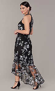 Image of high-low embroidered long black/white party dress. Style: JU-MA-262875 Back Image