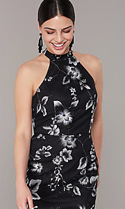 Image of high-low embroidered long black/white party dress. Style: JU-MA-262875 Detail Image 1