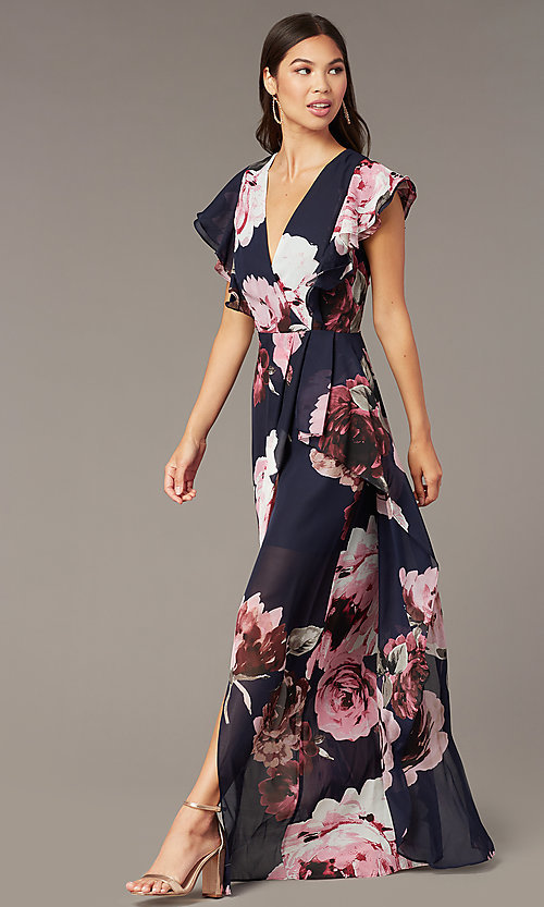 Image of navy blue long wedding-guest dress with print. Style: JU-MA-262068 Front Image