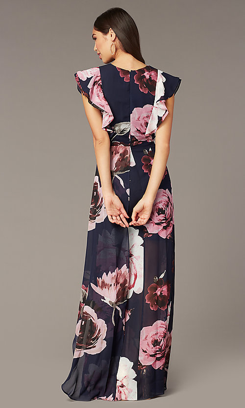 Image of navy blue long wedding-guest dress with print. Style: JU-MA-262068 Back Image