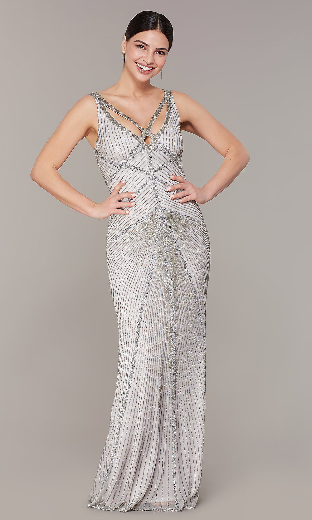 Silver Sequin V-Neck Long Prom Dress with Open Back