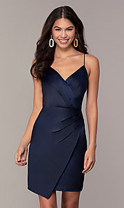 Image of v-neck short navy wedding-guest dress by Simply. Style: MT-SD-9833 Front Image