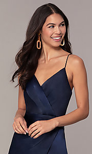 Image of v-neck short navy wedding-guest dress by Simply. Style: MT-SD-9833 Detail Image 1