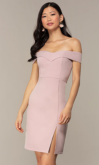 Short Off-Shoulder Wedding-Guest Dress by Simply