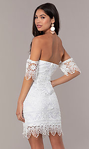 Image of short-sleeve graduation dress by Simply. Style: MT-SD-9575 Back Image