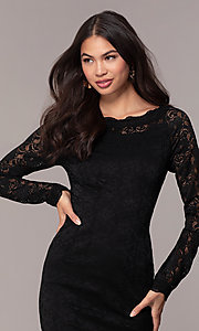 Image of short lace little black party dress by Simply. Style: MT-SD-9842 Detail Image 1