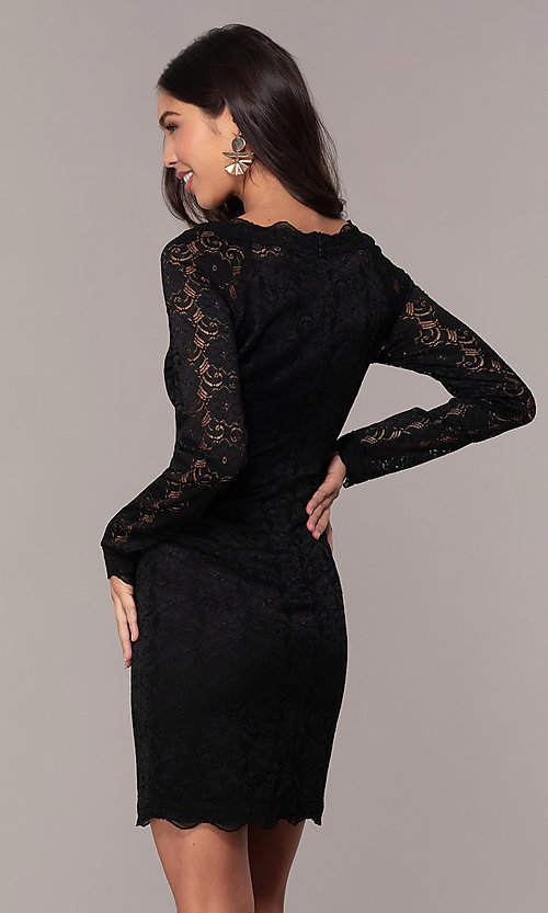 Image of short lace little black party dress by Simply. Style: MT-SD-9842 Back Image
