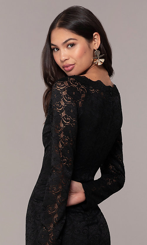 Image of short lace little black party dress by Simply. Style: MT-SD-9842 Detail Image 2
