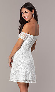 Image of off-the-shoulder ivory short graduation dress by Simply. Style: MCR-SD-2512-I Back Image