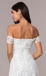 Image of off-the-shoulder ivory short graduation dress by Simply. Style: MCR-SD-2512-I Detail Image 2
