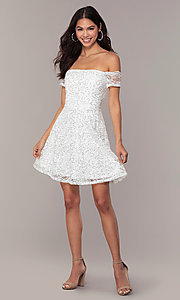 Image of off-the-shoulder ivory short graduation dress by Simply. Style: MCR-SD-2512-I Detail Image 3