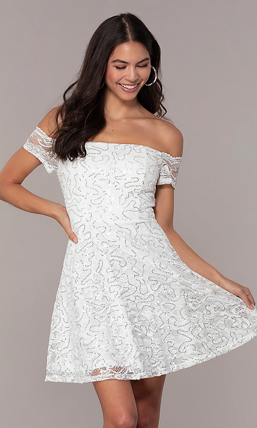 Image of off-the-shoulder ivory short graduation dress by Simply. Style: MCR-SD-2512-I Front Image