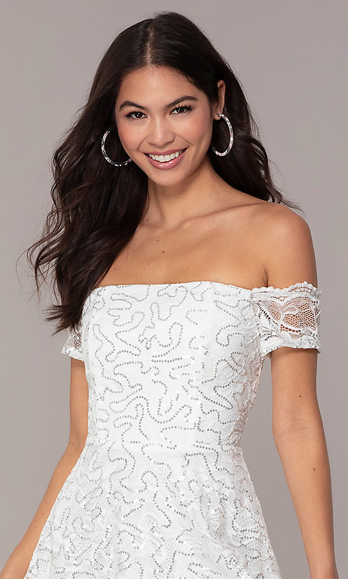 Image of off-the-shoulder ivory short graduation dress by Simply. Style: MCR-SD-2512-I Detail Image 1