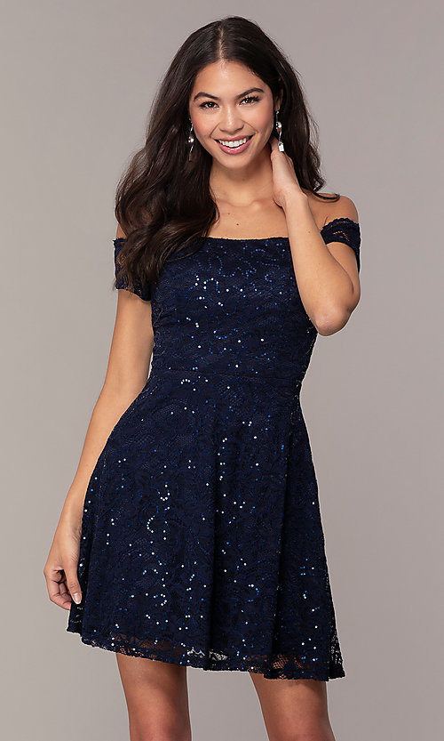 269b97abe667 Image of off-shoulder navy lace wedding-guest dress by Simply. Style