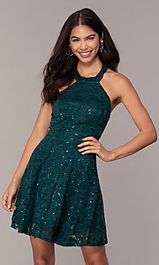 Image of short teal green lace homecoming dress by Simply. Style: MCR-SD-2566 Front Image