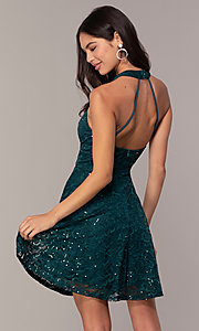 Image of short teal green lace homecoming dress by Simply. Style: MCR-SD-2566 Back Image