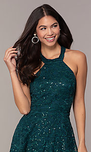 Image of short teal green lace homecoming dress by Simply. Style: MCR-SD-2566 Detail Image 1