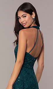 Image of short teal green lace homecoming dress by Simply. Style: MCR-SD-2566 Detail Image 2