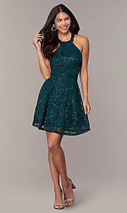 Image of short teal green lace homecoming dress by Simply. Style: MCR-SD-2566 Detail Image 3